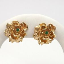 New 14k Yellow Gold Natural Emerald 3D Blooming Rose Post Stud Earrings 12.8 gr