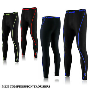 Men's Boys Compression Tights Thermal Base Layer Warm Running Gym Work Trousers