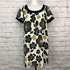 Anthropologie Moulinette Soeurs Small Silk Shift Dress Floral Cream Blue