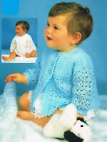 Lacy angel top & matinee coat crochet pattern, cardigan, dress, 4 ply. baby girl