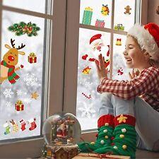 Décoration Stickers Noel Fenêtre, 160 Morceaux de Flocon de Neige, Père Noël