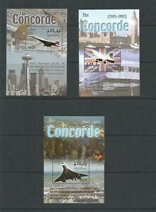 Maldives 2004 Last Flight Of Concorde 3 x Miniature Sheet  UMM SG MS 3927