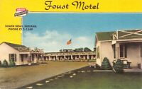 Linen Postcard Foust Motel in South Bend, Indiana~126540
