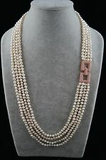25/26/27/28 inches 5-6 mm four-layer White Pearl Necklace with ornament