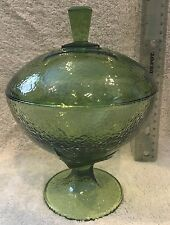VINTAGE round GREEN Glass Pedestal Footed Candy Dish With Lid ~ textured