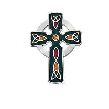 Green Celtic Cross Brooch Silver Plated Brand New Gift Packaging