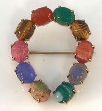 Vintage We Richards Designer 12K Gold Filled Scarab Horseshoe pin / Brooch