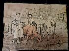 Antique Tapestry Bucolic Scene  Lovers farmers and cows. XIX Century