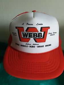 "WEBB ""Wheels - Hubs - Brakes Ball Cap Hat Snapback Truckers Mesh Red Vintage"