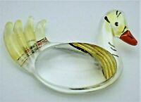 """Vintage Large Reverse Carved Lucite Painted Duck Pin Brooch - 3"""""""