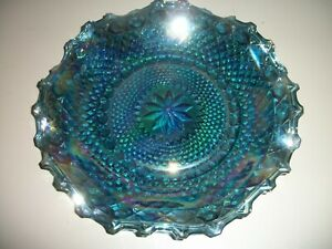 "Vintage 10"" Blue Iridescent Carnival Glass Plate/Dish w/Diamond Point Ruffle"