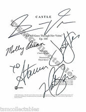 -= CASTLE autographed script Nathan FILLION Stana KATIC Molly C. QUINN signed!