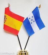 Spain & Honduras Double Friendship Table Flag Set