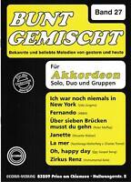 Akkordeon Noten : Bunt gemischt Band 27 mittelschwer mit 2. Stimme (ad. lib.)