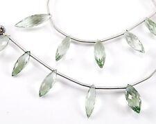 Eye Clean Green Amethyst Faceted Rice Briolette Semi Precious Gemstone Beads