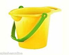 BEACH BUCKET WITH SPOUT 17.5CM - YELLOW OR ORANGE - SAND BEACH SANDPIT TOYS