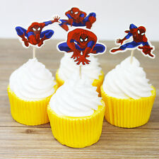 24 PCS SPIDERMAN CUPCAKE TOPPERS PARTY SUPPLIES BIRTHDAY FAVOURS SUPERHERO