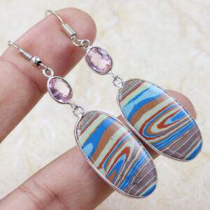 """Rainbow Calsilica & Pink Topaz 925 Silver Plated Earrings of 2.36"""" ST-18301"""