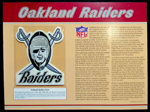 OAKLAND RAIDERS ~ Willabee & Ward NFL GOLDEN AGE FOOTBALL TEAM PATCH & INFO CARD