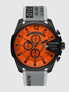 Diesel Men's Black Dz4535 Mega Chief Chronograph Grey Stainless Steel Watch