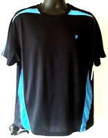 FILA Sport Men's Short Sleeve Activewear Shirt Black Turquoise Size Large