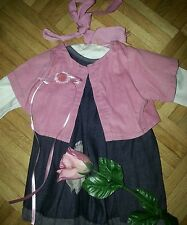 Puppenmode v. Marken Orchidee-Puppen, Kleid+Jeans-Schürze+Jacke+Schleife, 50 cm