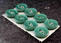 Vintage Button Set of 8 Dark Green Plastic Buttons - 14 mm (5/8 inch) diameter