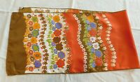 "Vintage Woman's Scarf 13"" x 52"" Long  Baar & Beards 1970's colors Florals Orange"