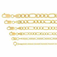 """Real Oro Amarillo 14k 1.5mm-6.5mm Collar Colgante Cadena Fígaro Link 16"""" -30"""""""