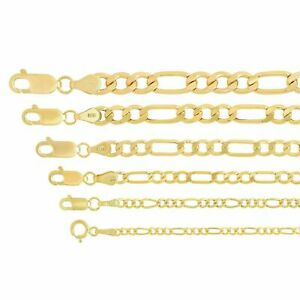 "Real 14k Yellow Gold 1.8mm-6.5mm Figaro Link Chain Pendant Necklace 16""-30"""