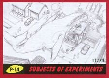 Mars Attacks The Revenge Red [99] Pencil Art Base Card P-14 Subjects of Experime