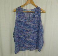 Broadway & Broome Women's Printed Twirl Tank 100% Silk V Neck Shirt Size Medium