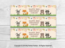 6 Woodland Personalised Birthday Fruit Shoot Bottle Wrappers Party Favour