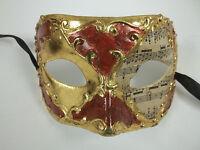 Red Gold Music Masquerade Paper Mache Mardi Gras Mask