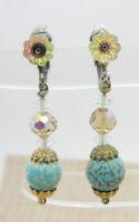 Blue Art Glass Clear Aurora Borealis Crystal Flower Dangle Earrings Vintage