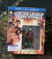DC Comics Justice League vs Teen Titans Blu-Ray DVD Robin Figure Gift Set DI