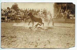 Weiser Idaho Round Up 1917 Real Photo Postcard RPPC Cowboy on ground buck horse