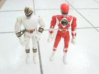 "Red and White Power Rangers 1993 BANDAI 8"" Action Figures lot of 2"
