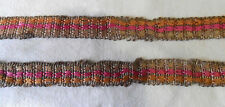 Vintage Woven TRIMMINGS Silky Pale Orange Pink Beige, Gold Thread, India, 1 Yard