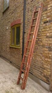 VINTAGE  WOOD 10 RUNG DOUBLE EXTENDING  LADDER - COLLECT OR DELIVERY