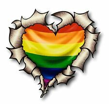 Ripped torn metal look coeur lgbt gay pride rainbow flag vinyle voiture autocollant decal