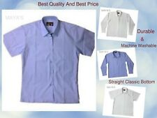 School Blouse Girls Shirts,Uniform White,Blue,Long,Short Sleeves All Sizes New
