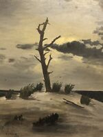 """1916 signed American  School  Almost Surreal """"Lone Tree On The Beach"""""""