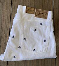 Polo Ralph Lauren Men's Varick Slim Straight White Skull Jeans Sz 36x30 NWT $125