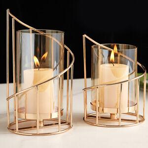 Geometric Spiral Candle Holder Decorative Metal Iron Candlestick Ornament  Decor