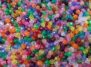 2,000 Pcs Tiny 4mm Assorted Color Round Crystal Faceted Plastic Craft Beads