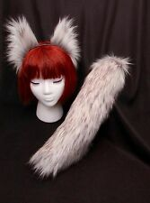 "Arctic Fox Wolf Ears and Tail-17"" White-Grey Set Realistic Faux Fur IN STOCK"