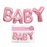 Baby Balloon Banner Kit - Pink - Latex Helium Air Party Decoration Girl Shower