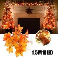 1.5M 10 LED Thanksgiving Harvest Maple Leaves Lighted Fall Garland String Lights