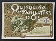 Etiquette QUINQUINA PAILLETTES D'OR Art nouveau Jugendstil no Mucha old label